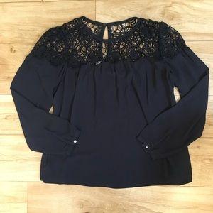 LOFT navy lace top